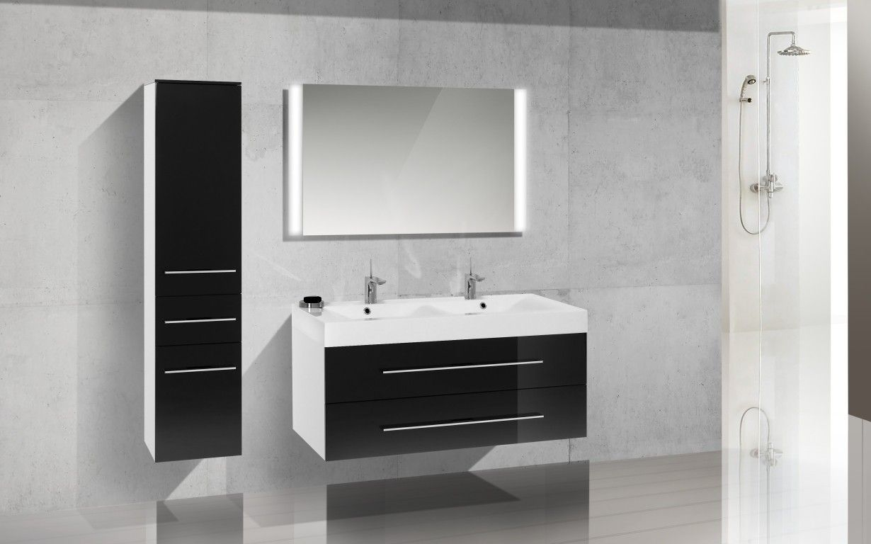 Doppelwaschbecken modern maße  Doppelwaschtisch 120 cm Design Badmöbel Set Waschbecken ...