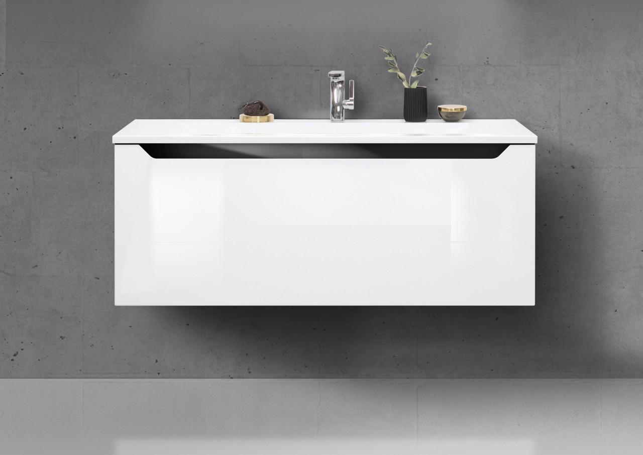 monza badm bel grifflos 120 cm waschtisch led lichtspiegel und seitenschrank ebay. Black Bedroom Furniture Sets. Home Design Ideas