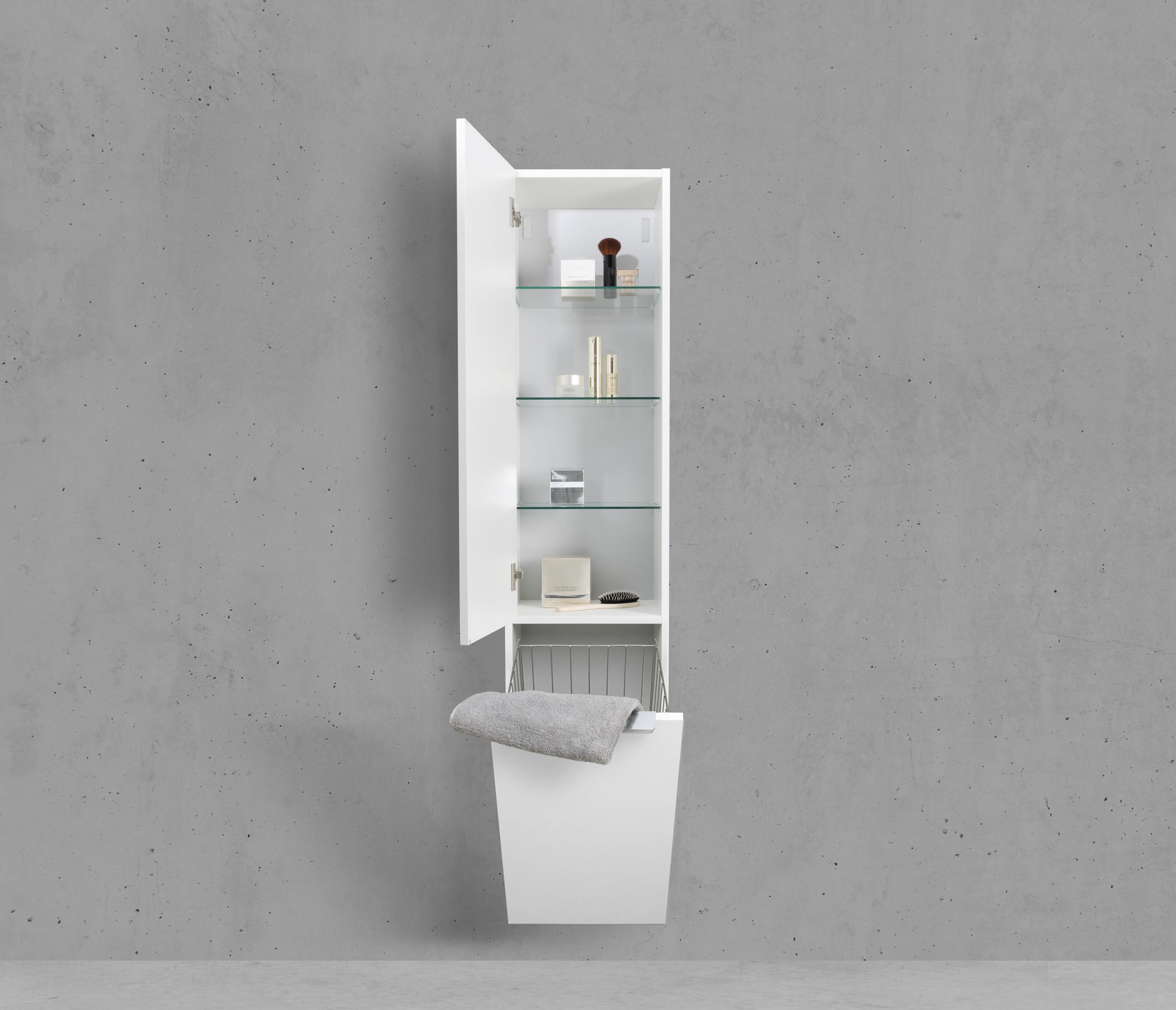 Hochschrank Seitenschrank mit Wäschekippe H/B/T: 160/40/32,5cm Weiß ...
