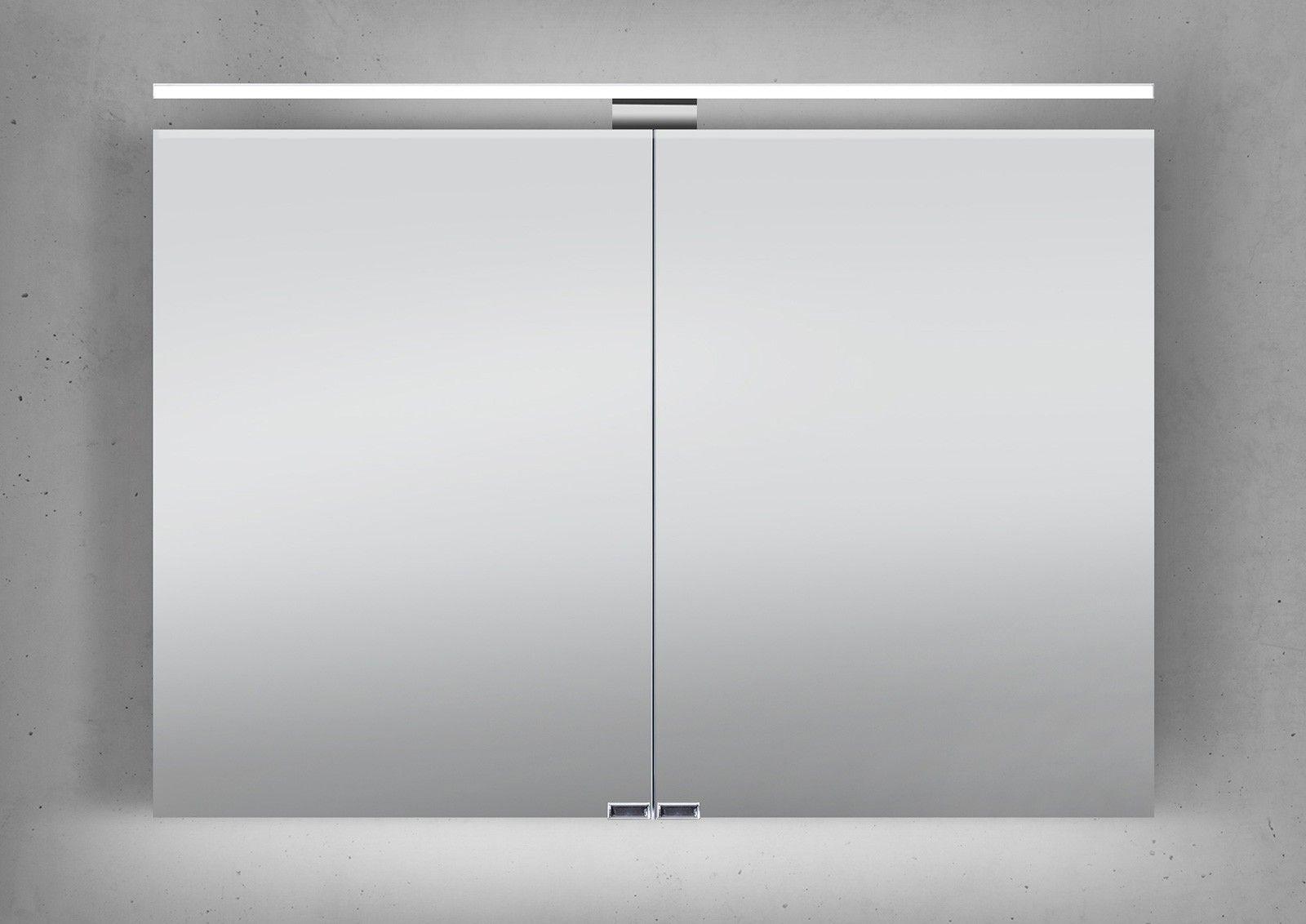 spiegelschrank 100 cm led beleuchtung doppelseitig verspiegelt ... - Badezimmer Spiegelschränke Mit Beleuchtung