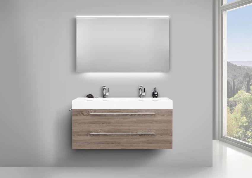 Doppelwaschbecken Design Bad Set, Unterschrank und LED Lichtspiegel   Bad > Waschbecken   Weiß - Trüffel - Chrom   Abs - Stahl   Intarbad