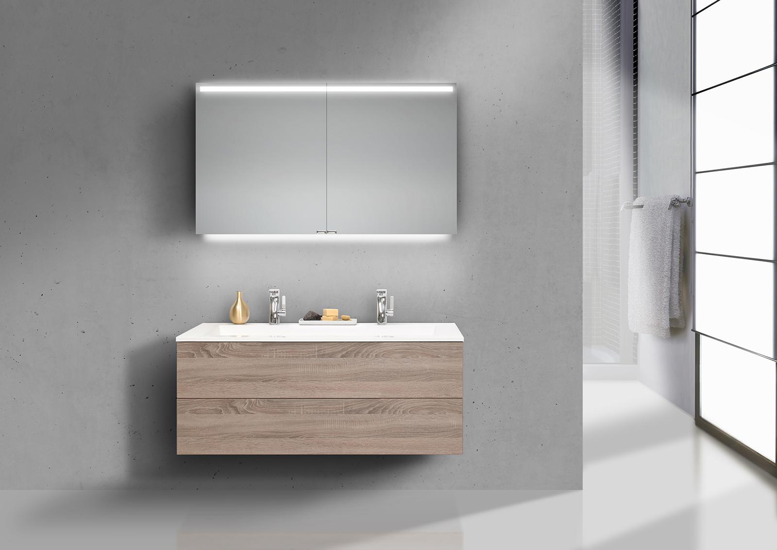 intarbad cubo 1200 doppelwaschbecken badset grifflos mit unterschrank und led spiegelschrank. Black Bedroom Furniture Sets. Home Design Ideas