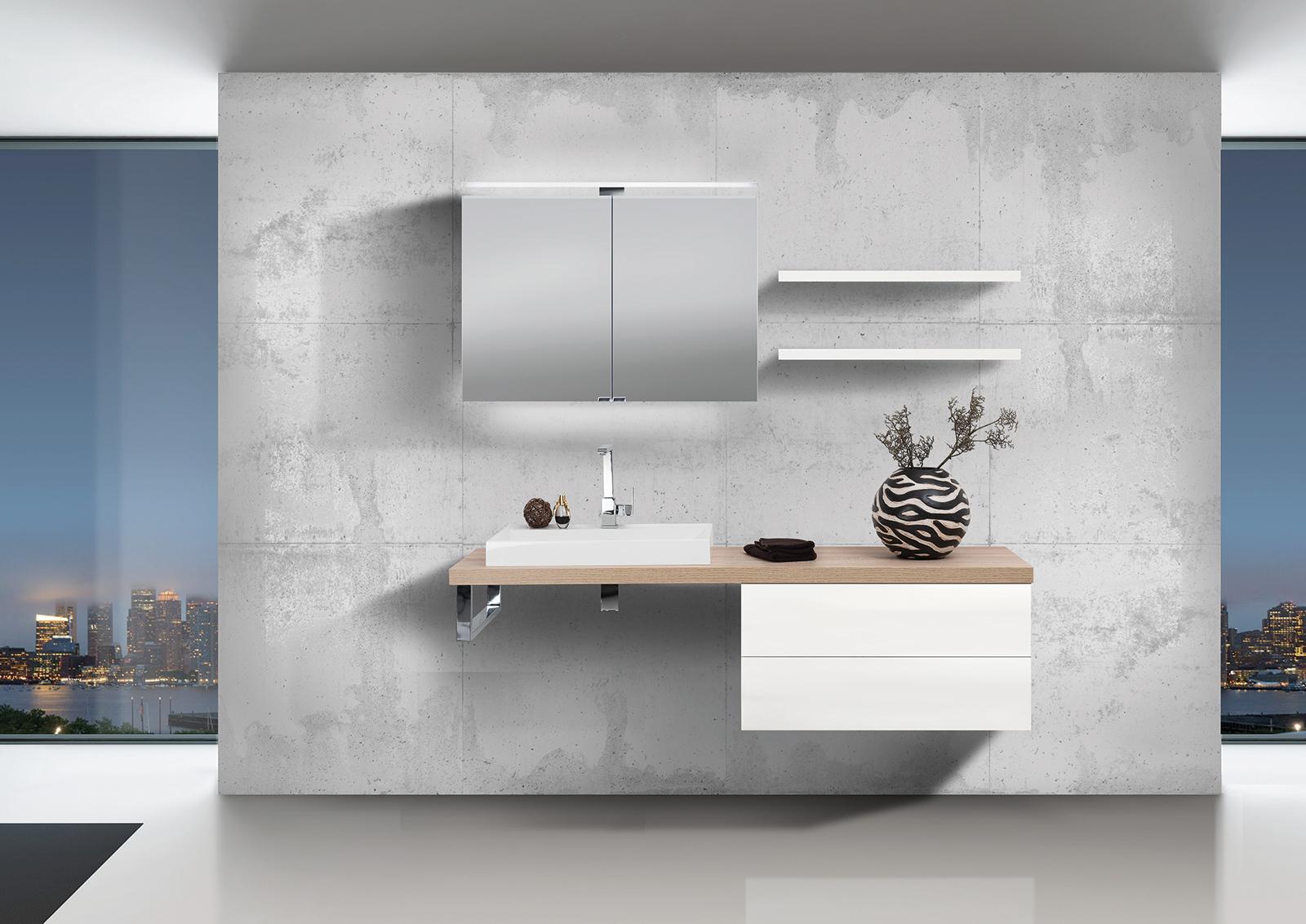 badm bel set grifflos waschtischplatte nach ma bestellbar mit led spiegelschrank. Black Bedroom Furniture Sets. Home Design Ideas