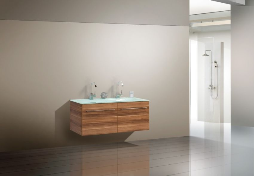 Glas - Doppelwaschtisch 120 cm Design Badmöbel Set | designbaeder.com | {Doppelwaschbecken glas 92}