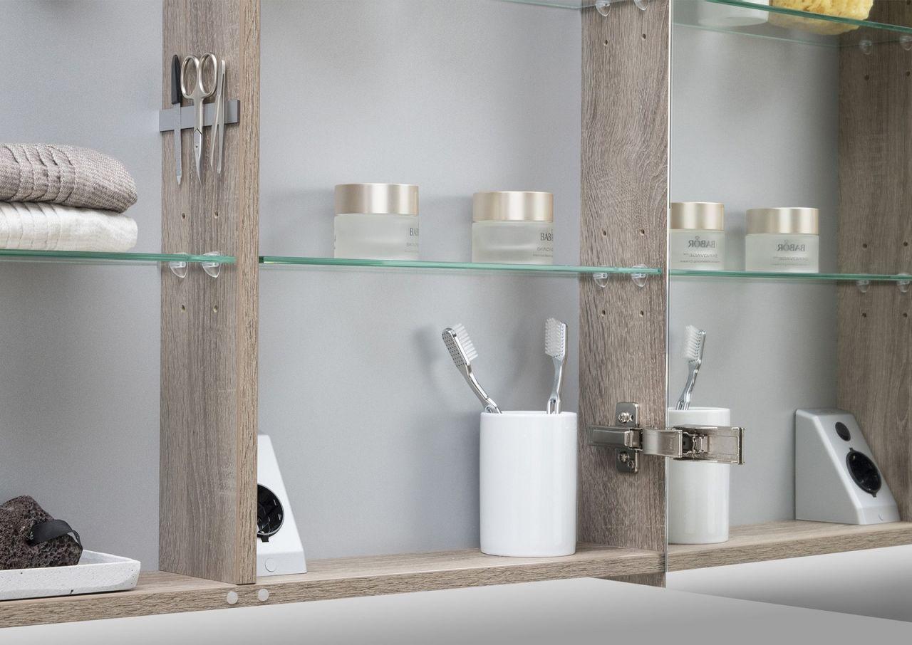 Spiegelschrank 90 cm led beleuchtung doppelseitig verspiegelt wei hochglanz ebay - Spiegelschrank 90 cm ...