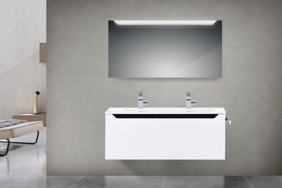 Design badm bel set 120 cm doppelwaschtisch griffleiste schwarz hochglanz ebay - Badmobel schwarz hochglanz ...