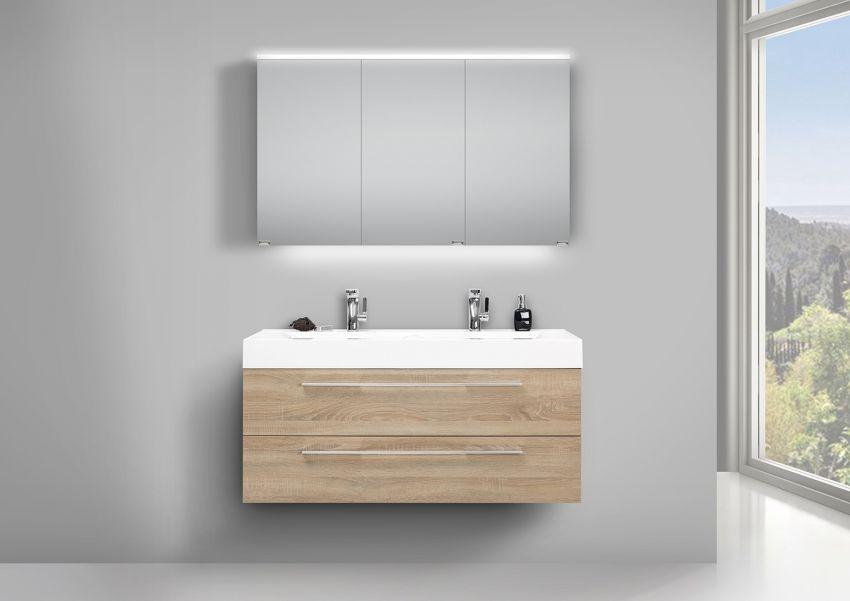 Doppelwaschbecken 120cm Badmöbel Eiche mit LED Spiegelschrank und Unterschrank | Bad > Waschbecken | Intarbad