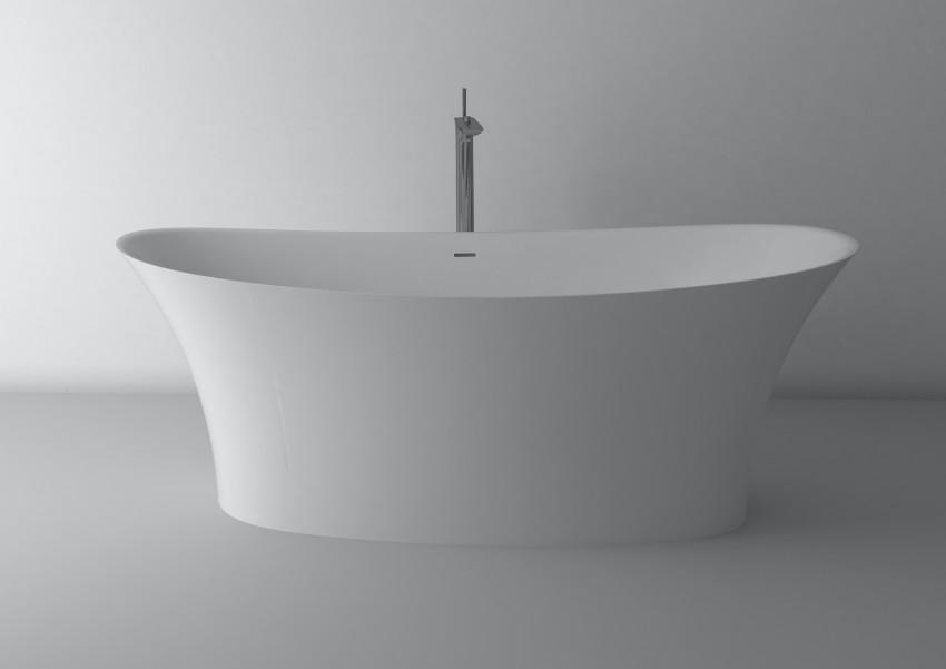 Freistehende Badewanne aus Mineralguss 170x78,6x63,4 cm in Weiß Glanz oder Matt