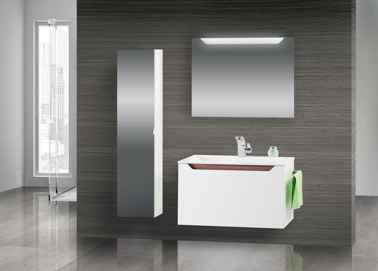 badm bel set waschtisch 80 cm komplett nussbaum griffleiste schwarz hochglanz ebay. Black Bedroom Furniture Sets. Home Design Ideas