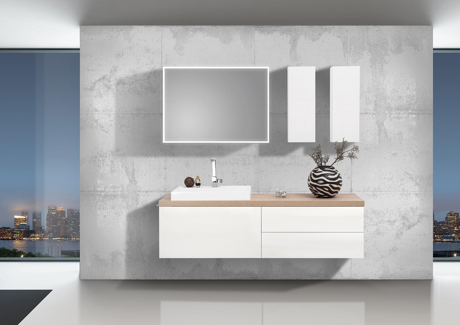 Design Badmöbel Set LUXOR grifflos 180cm , Waschtischplatte nach Maß ...