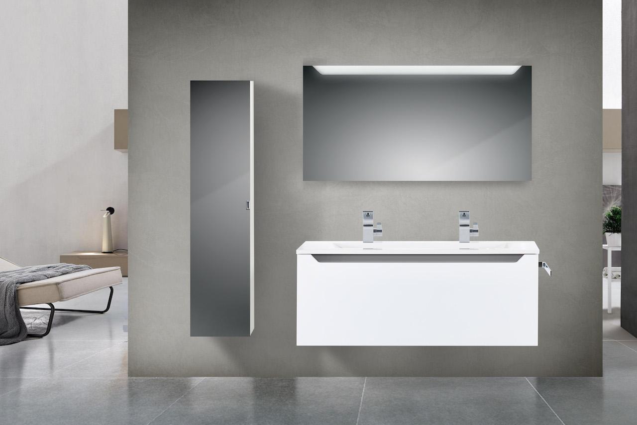 Design Badmöbel Set mit 120 cm Doppelwaschtisch Grau Hochglanz ...