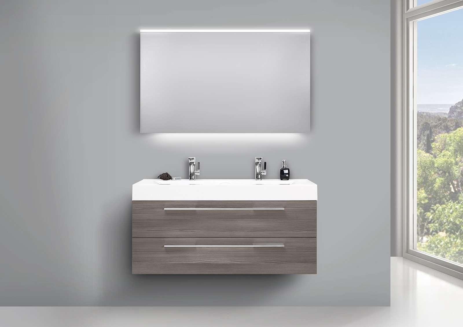 Design Badmöbel Set mit LED Lichtspiegel, Doppelwaschtisch und ... | {Doppelwaschtisch mit unterschrank und spiegelschrank 61}