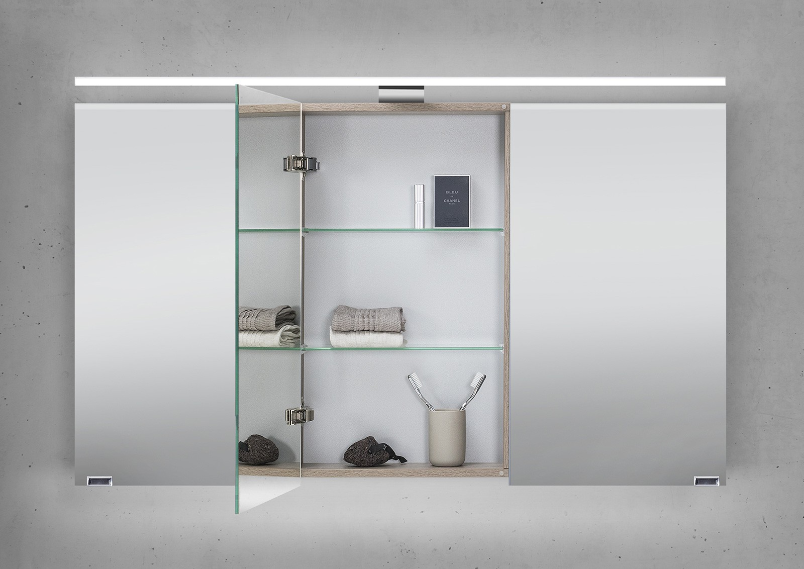 Spiegelschrank 120 cm led beleuchtung doppelt verspiegelt for Spiegelschrank 120