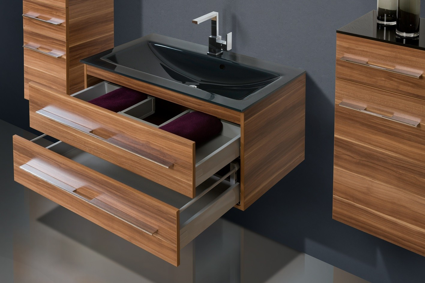 design badm bel set 90cm glaswaschtisch. Black Bedroom Furniture Sets. Home Design Ideas
