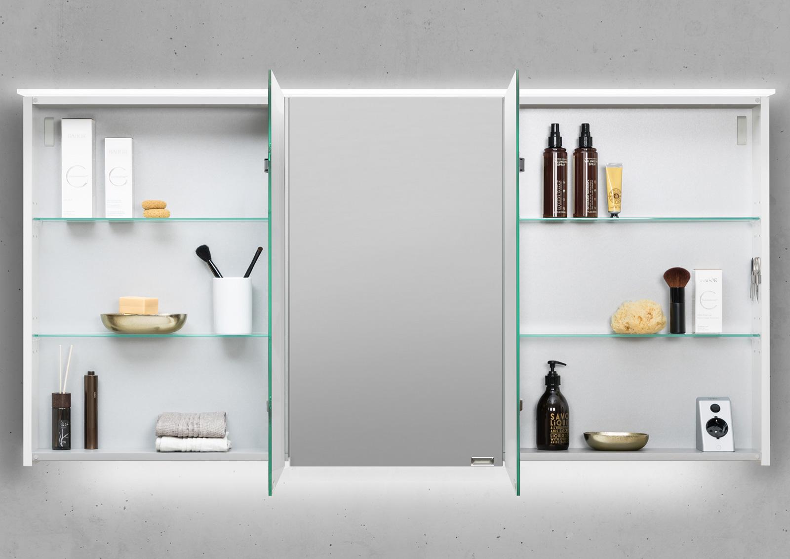 spiegelschrank 150 cm led acryl lichtplatte doppelt verspiegelt. Black Bedroom Furniture Sets. Home Design Ideas