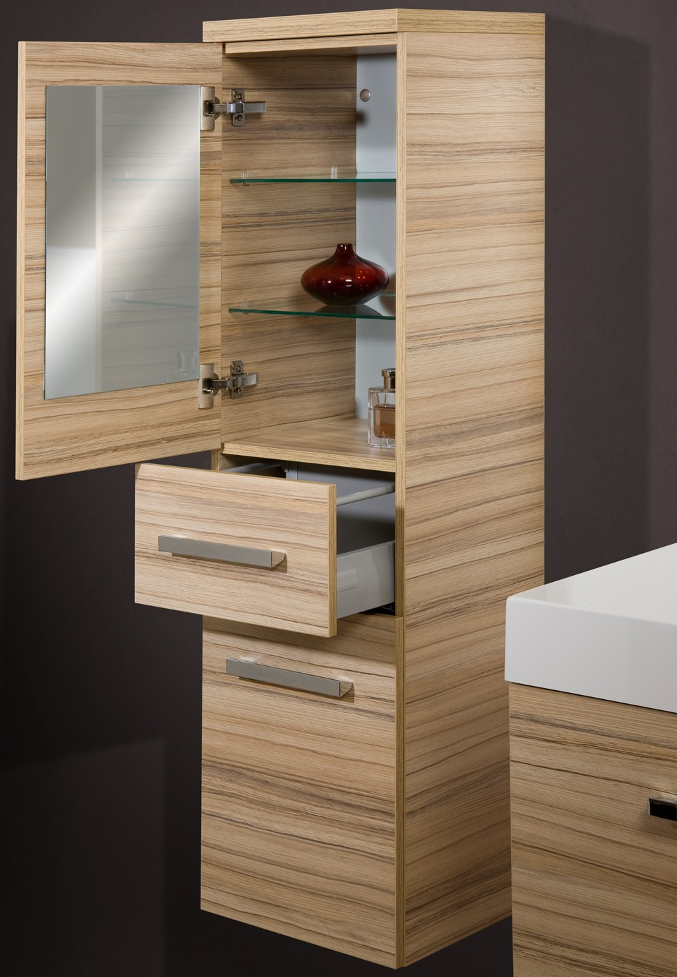badezimmerm bel set mit glaswaschbecken 90 cm 349. Black Bedroom Furniture Sets. Home Design Ideas