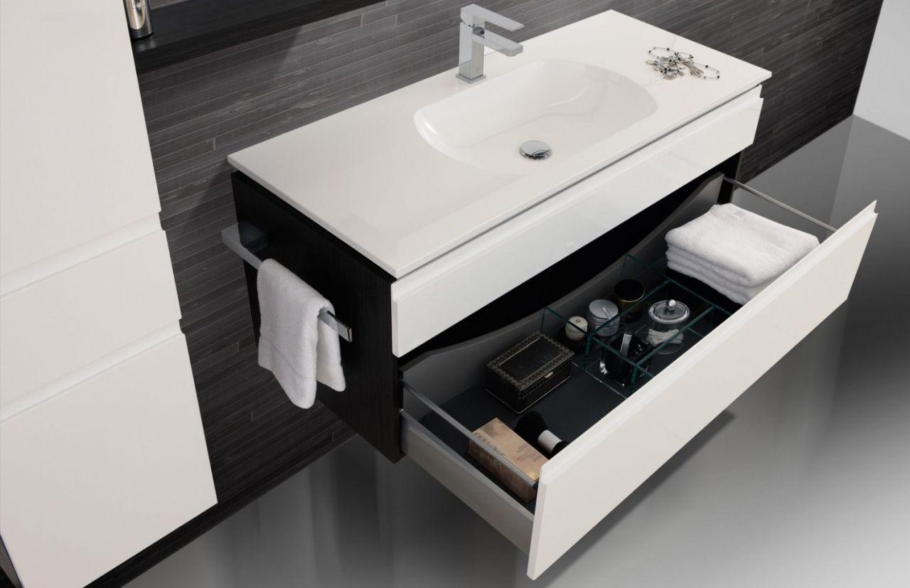 Design Badmöbel Set Waschbecken Spiegelschrank 120 cm : Weiß ...