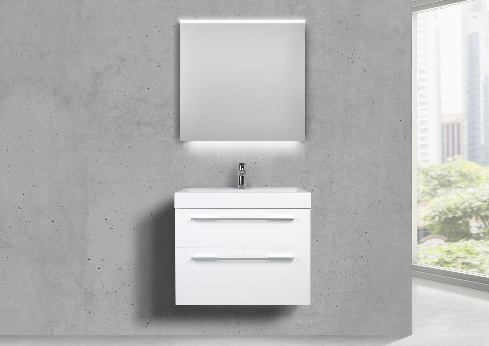 design badm bel 70 cm waschtisch mit unterschrank und lichtspiegel led. Black Bedroom Furniture Sets. Home Design Ideas