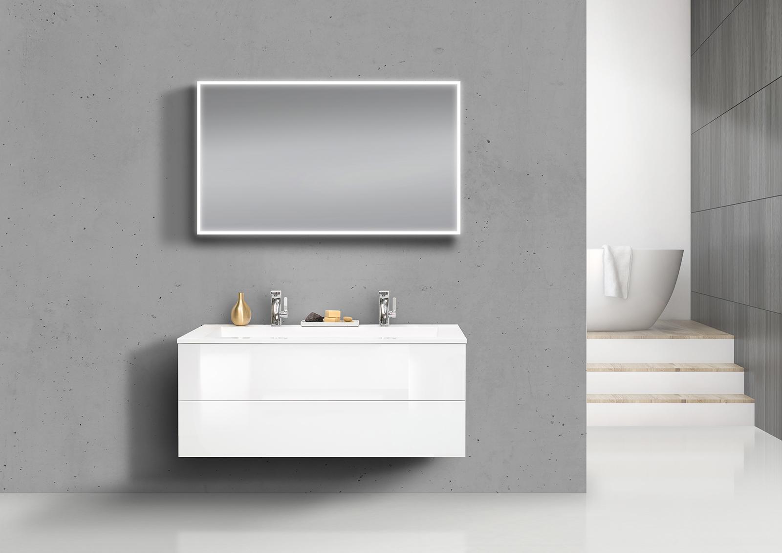 badm bel grifflos doppelwaschtisch 120 cm mit unterschrank und led lichtspiegel wei hochglanz. Black Bedroom Furniture Sets. Home Design Ideas