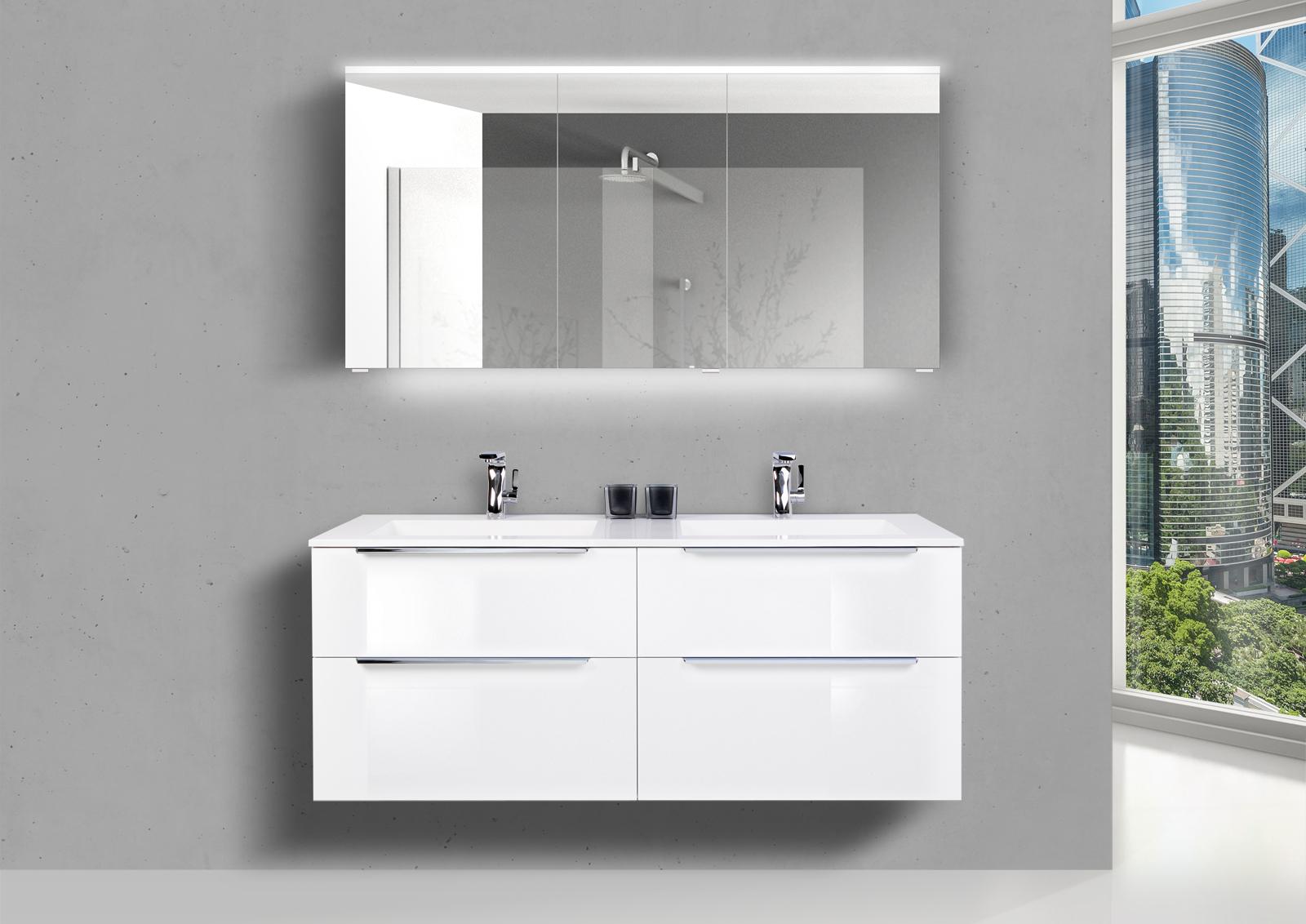 Doppelwaschtisch 140 cm Badmöbel Set SKY, mit Led Spiegelschrank, Weiß  Hochglanz Lack
