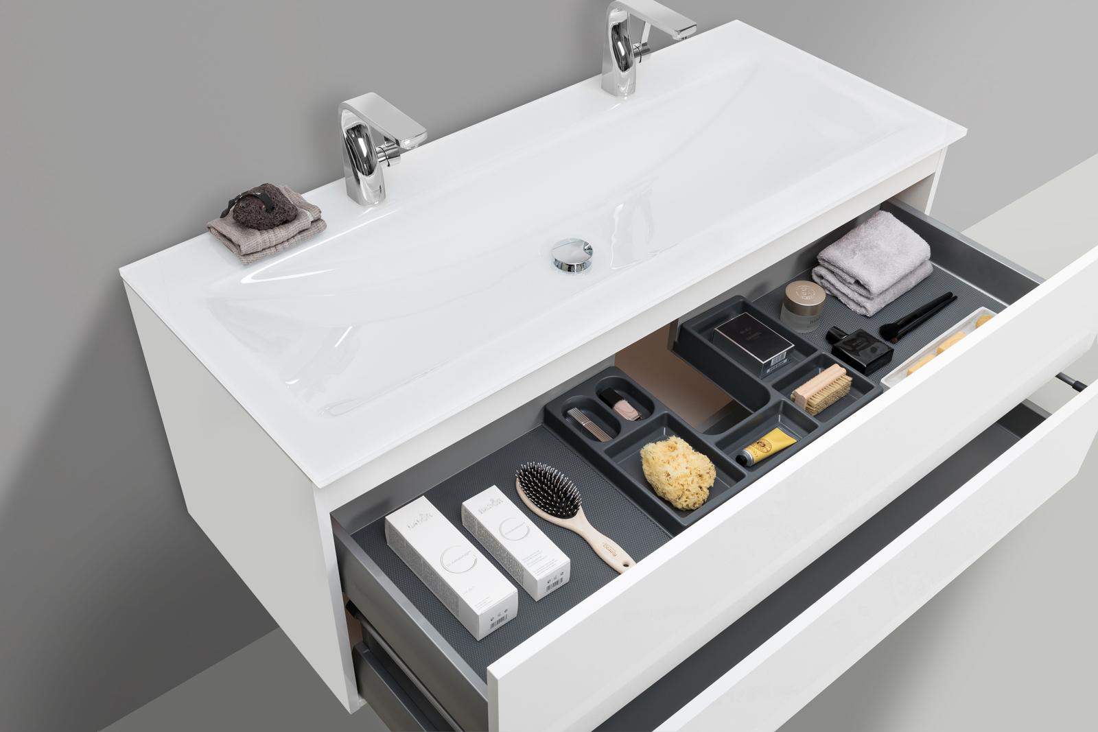 glas doppelwaschtisch optiwhite 120 cm mit unterschrank. Black Bedroom Furniture Sets. Home Design Ideas