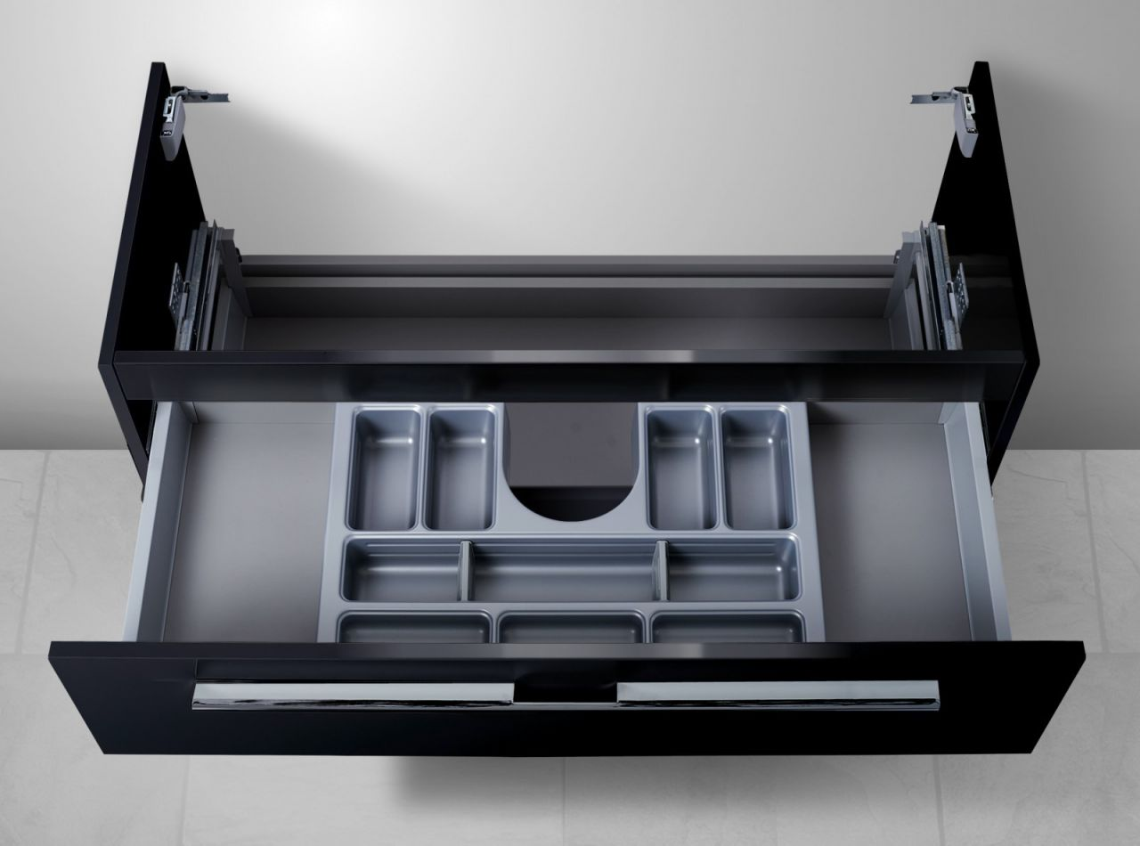 unterschrank f r keramag icon 120 cm doppelwaschtisch 1 ablauf mit kosmetikein ebay. Black Bedroom Furniture Sets. Home Design Ideas