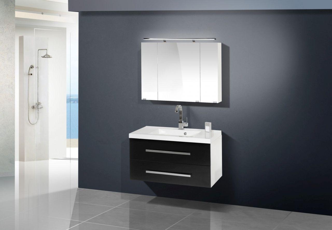 design badm bel set mit spiegelschrank 90 cm nussbaum. Black Bedroom Furniture Sets. Home Design Ideas
