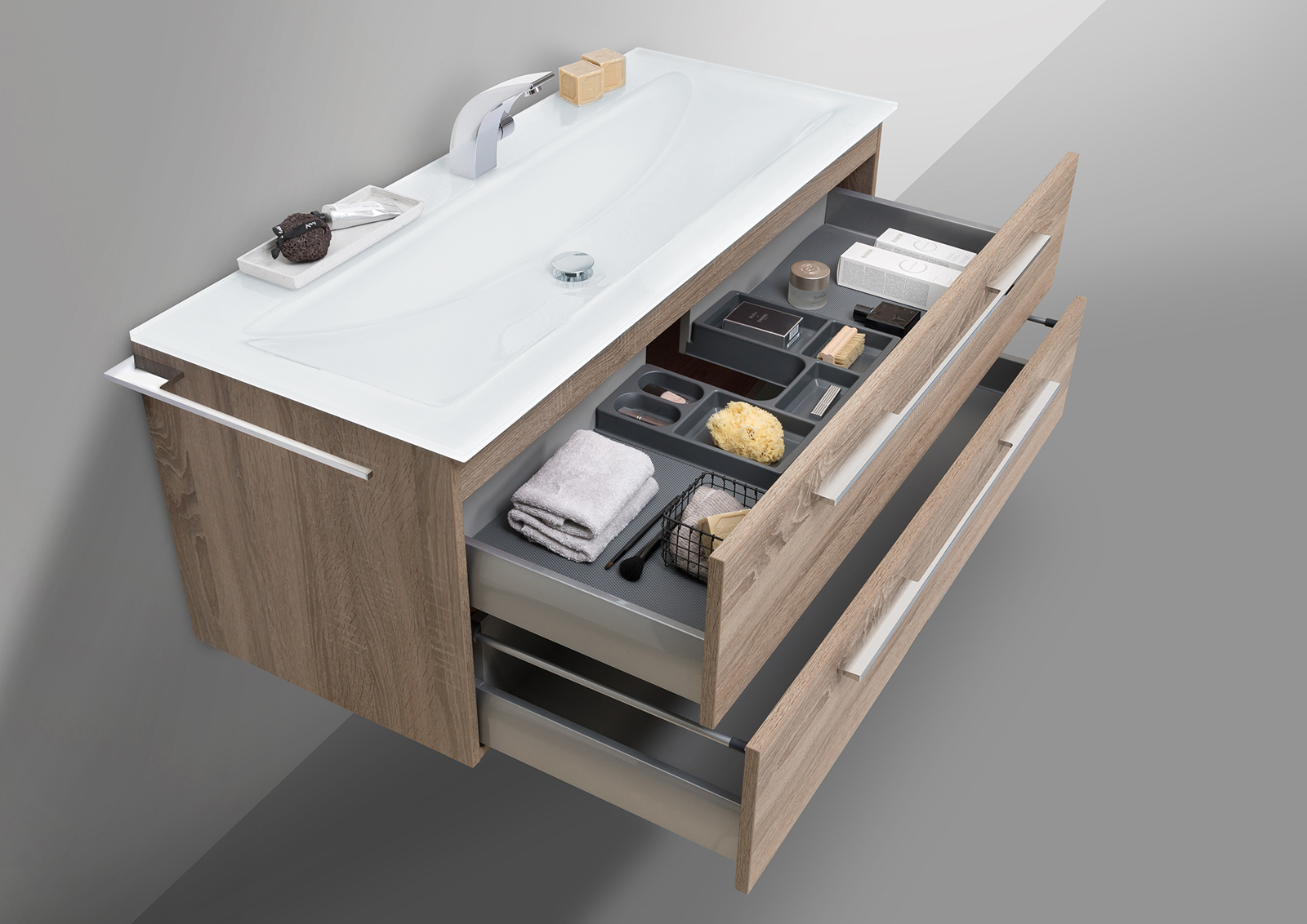 badm bel 120 cm glaswaschtisch mit unterschrank waschtisch set. Black Bedroom Furniture Sets. Home Design Ideas