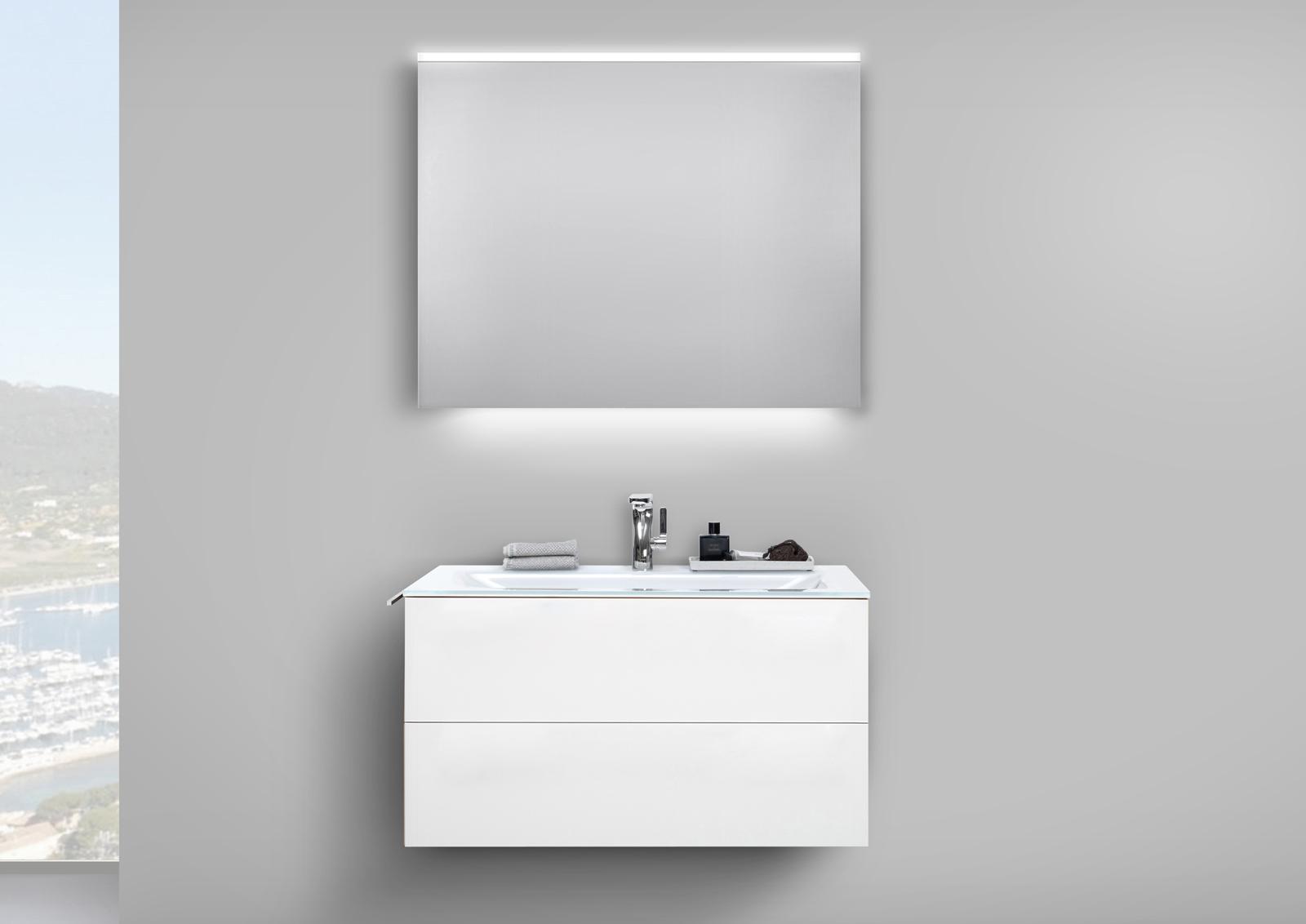 glaswaschtisch 90 cm badm bel grifflos unterschrank mit led lichtspiegel wei hochglanz. Black Bedroom Furniture Sets. Home Design Ideas