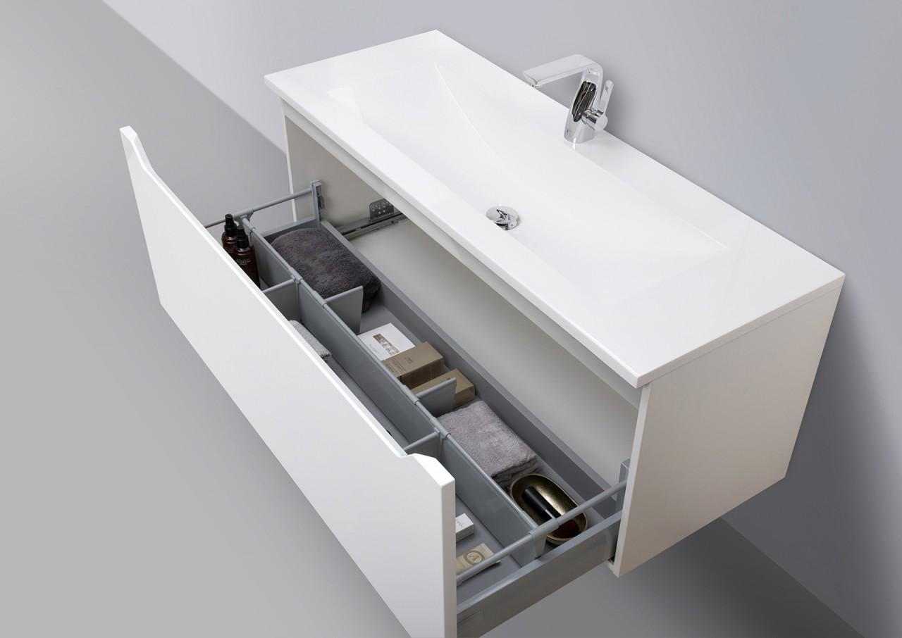 Badmöbel Set grifflos 120 cm Waschbecken, Unterschrank mit Led ...