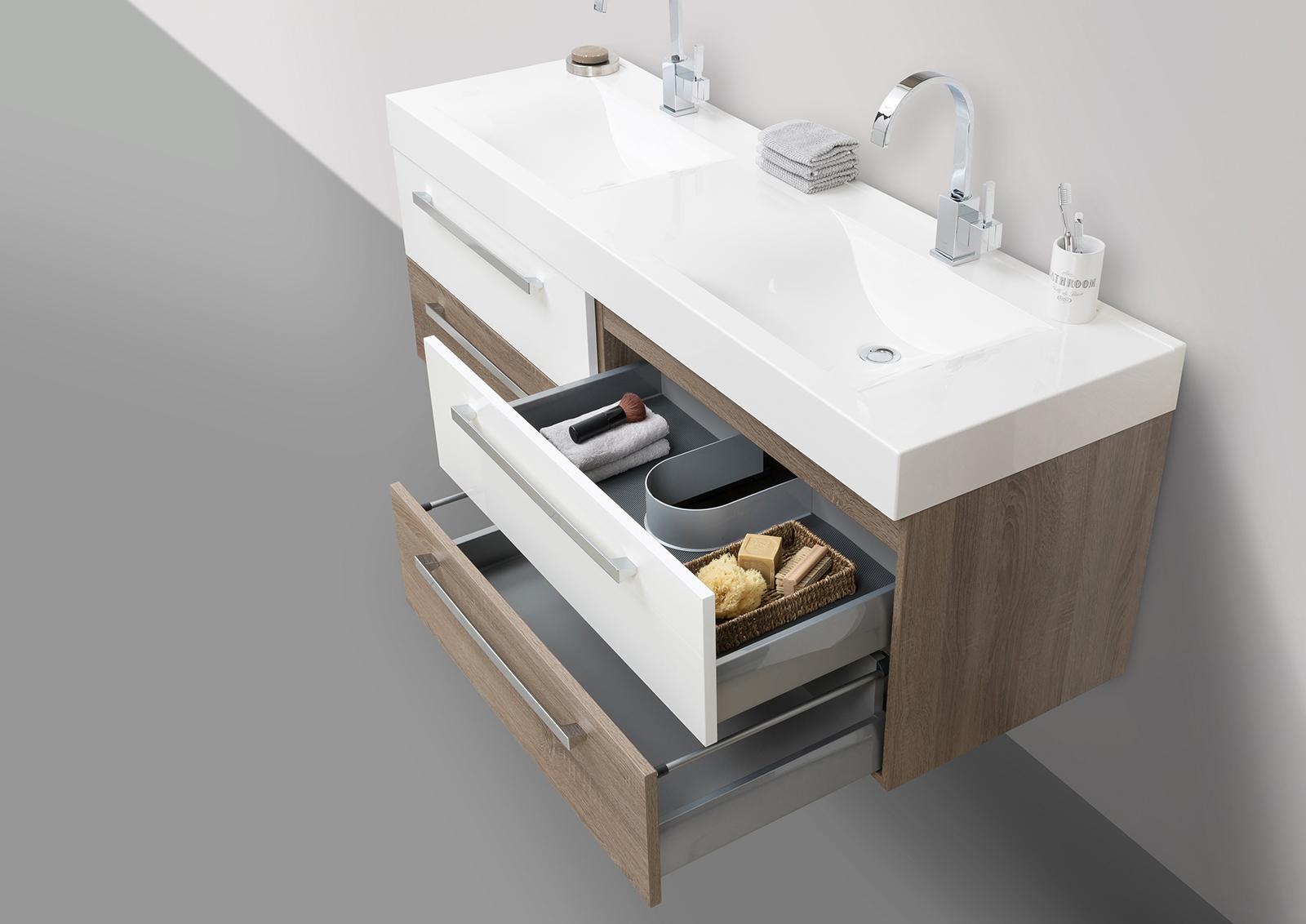 Badm bel set doppelwaschbecken 160 cm mit unterschrank spiegelschrank - Badmobel set doppelwaschbecken ...