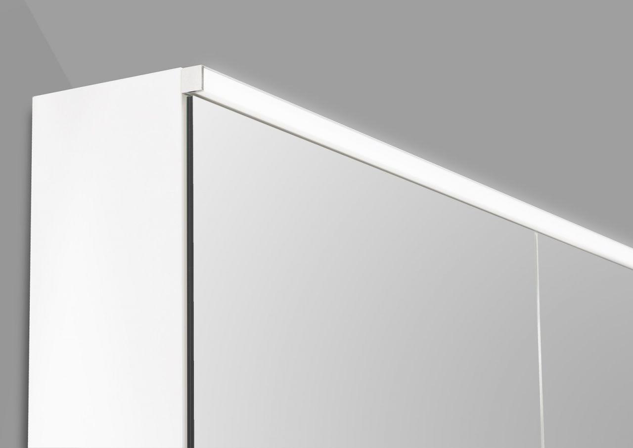 spiegelschrank 120 cm integrierte led beleuchtung doppeltverspiegelt wei hoch ebay. Black Bedroom Furniture Sets. Home Design Ideas
