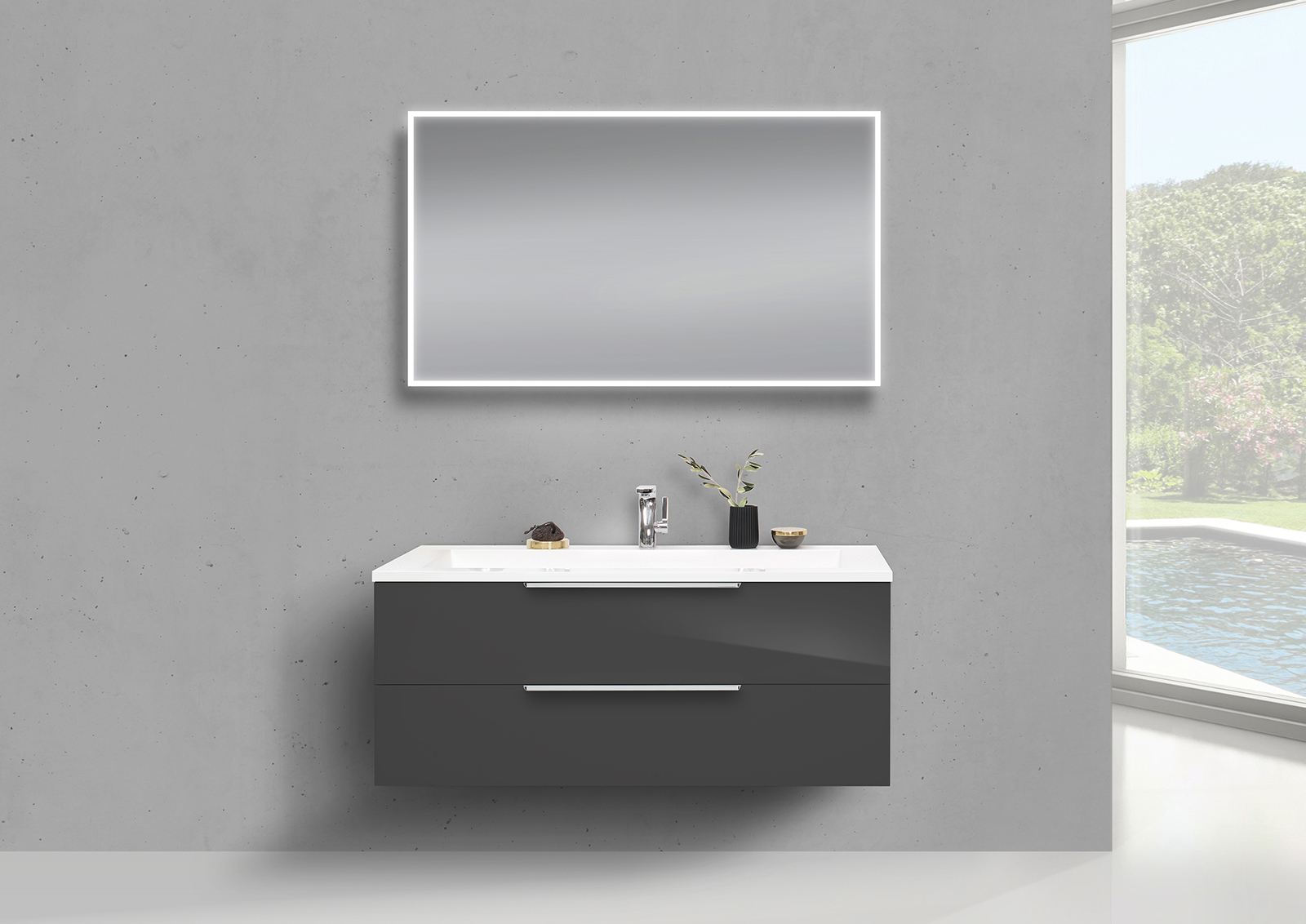 badm bel set 120 cm waschtisch evermite mit unterschrank. Black Bedroom Furniture Sets. Home Design Ideas