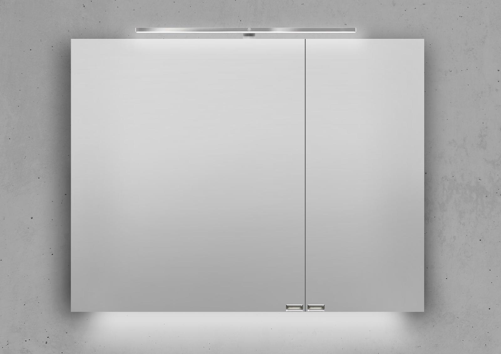spiegelschrank 90 cm led beleuchtung mit farbwechsel doppelseitig verspiegelt. Black Bedroom Furniture Sets. Home Design Ideas