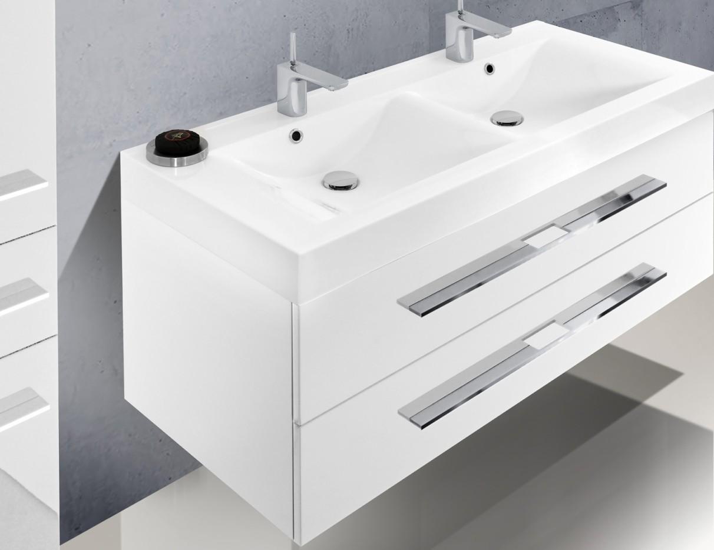 Design badm bel set 120 cm doppelwaschtisch for Doppelwaschtisch