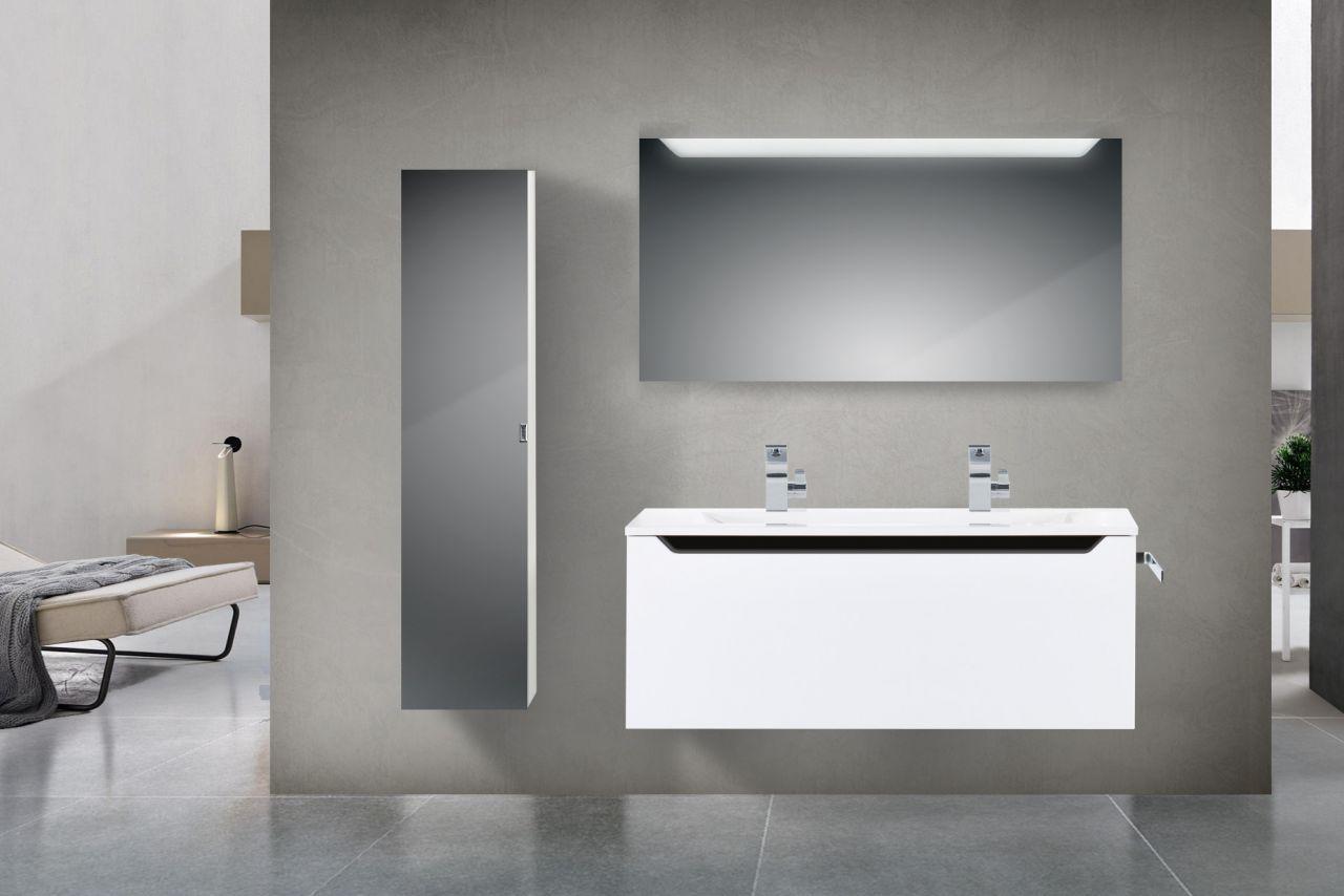 Design hochglanz badm bel set 120 cm doppelwaschtisch griffleiste schwarz hochg ebay - Badmobel schwarz hochglanz ...