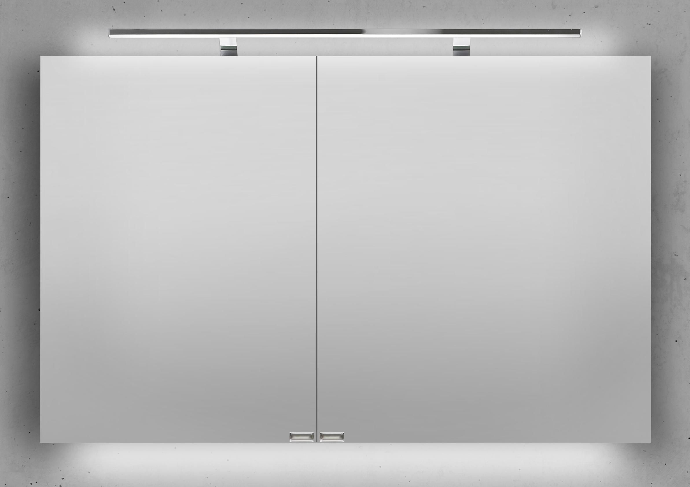 spiegelschrank 110 cm inkl led beleuchtung doppelseitig verspiegelt. Black Bedroom Furniture Sets. Home Design Ideas