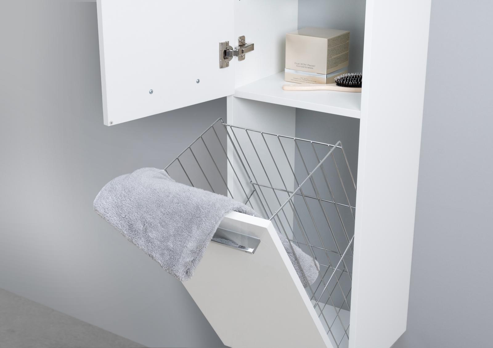 Badschrank mit Wäschekippe Hochschrank H/B/T: 160/40/32,5cm Weiß ...