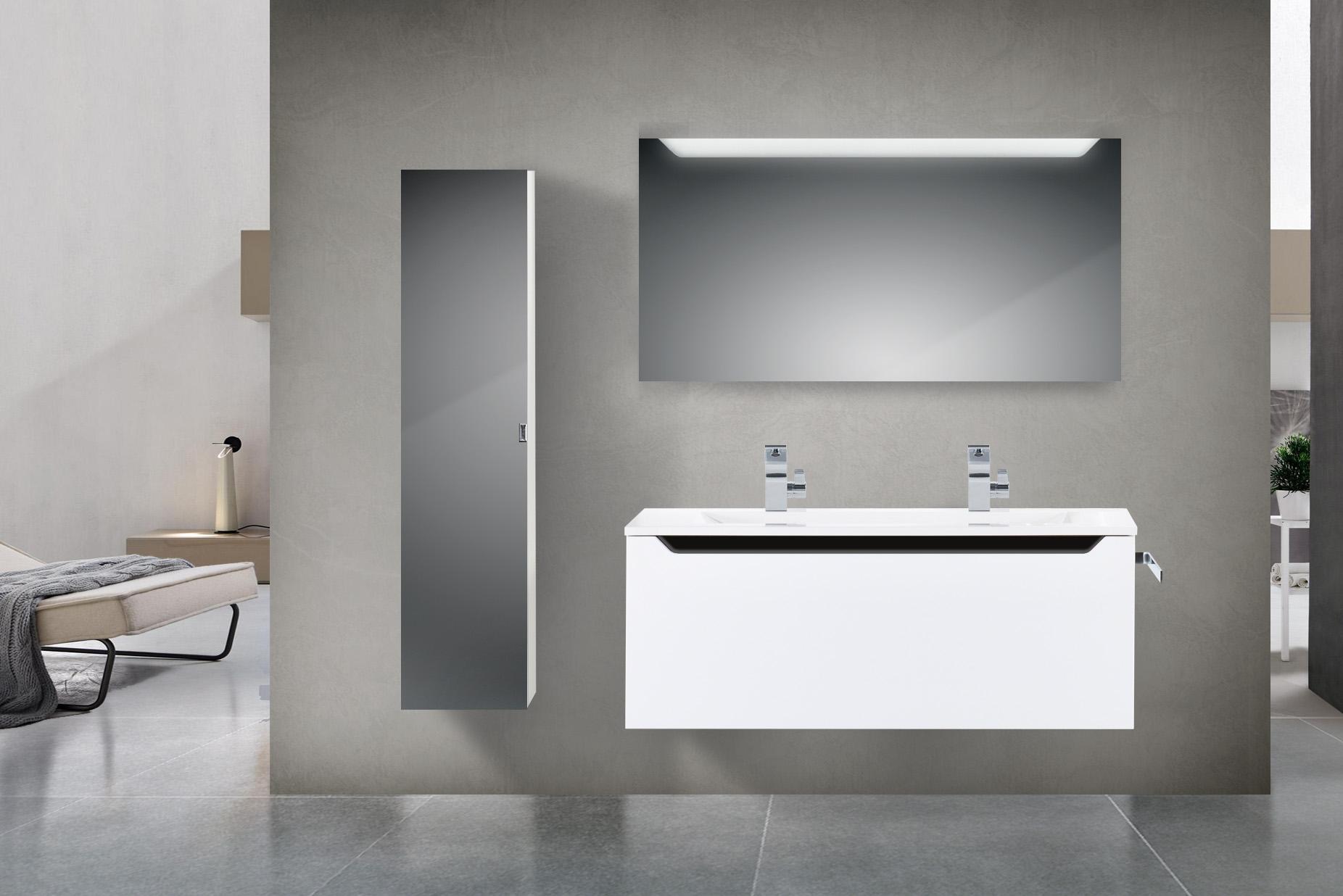 Design Hochglanz Badmobel Set 120 Cm Doppelwaschtisch Griffleiste