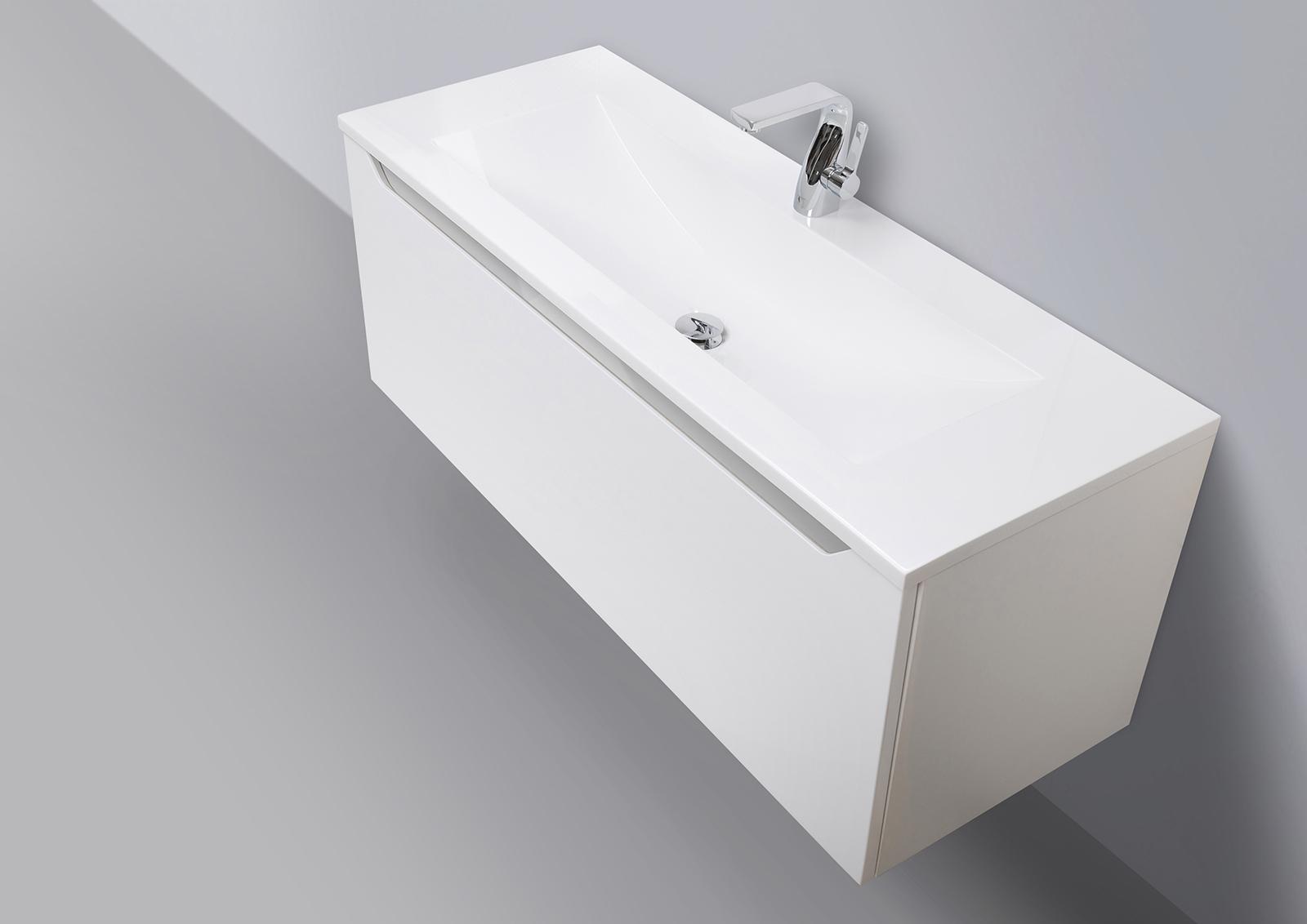 waschtisch mit unterschrank badm bel set monza 120 cm grifflos. Black Bedroom Furniture Sets. Home Design Ideas