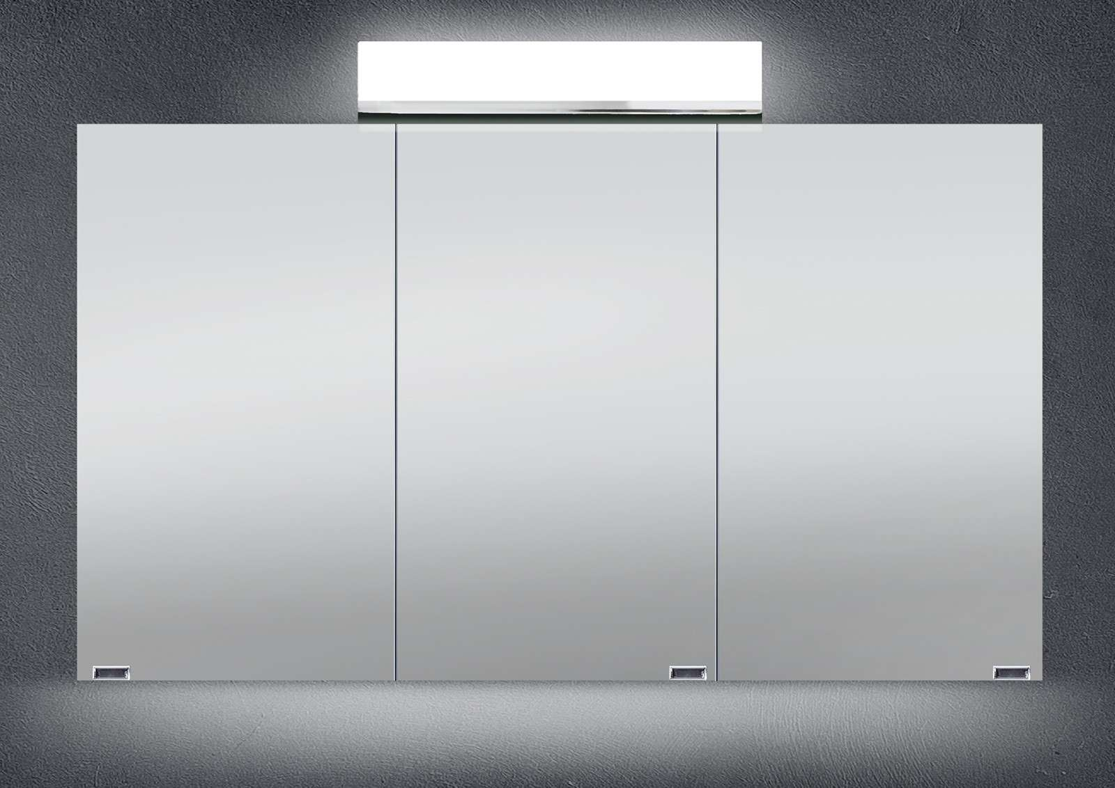 spiegelschrank bad 120 cm led beleuchtung doppelseitig verspiegelt ... - Badezimmer Spiegelschränke Mit Beleuchtung
