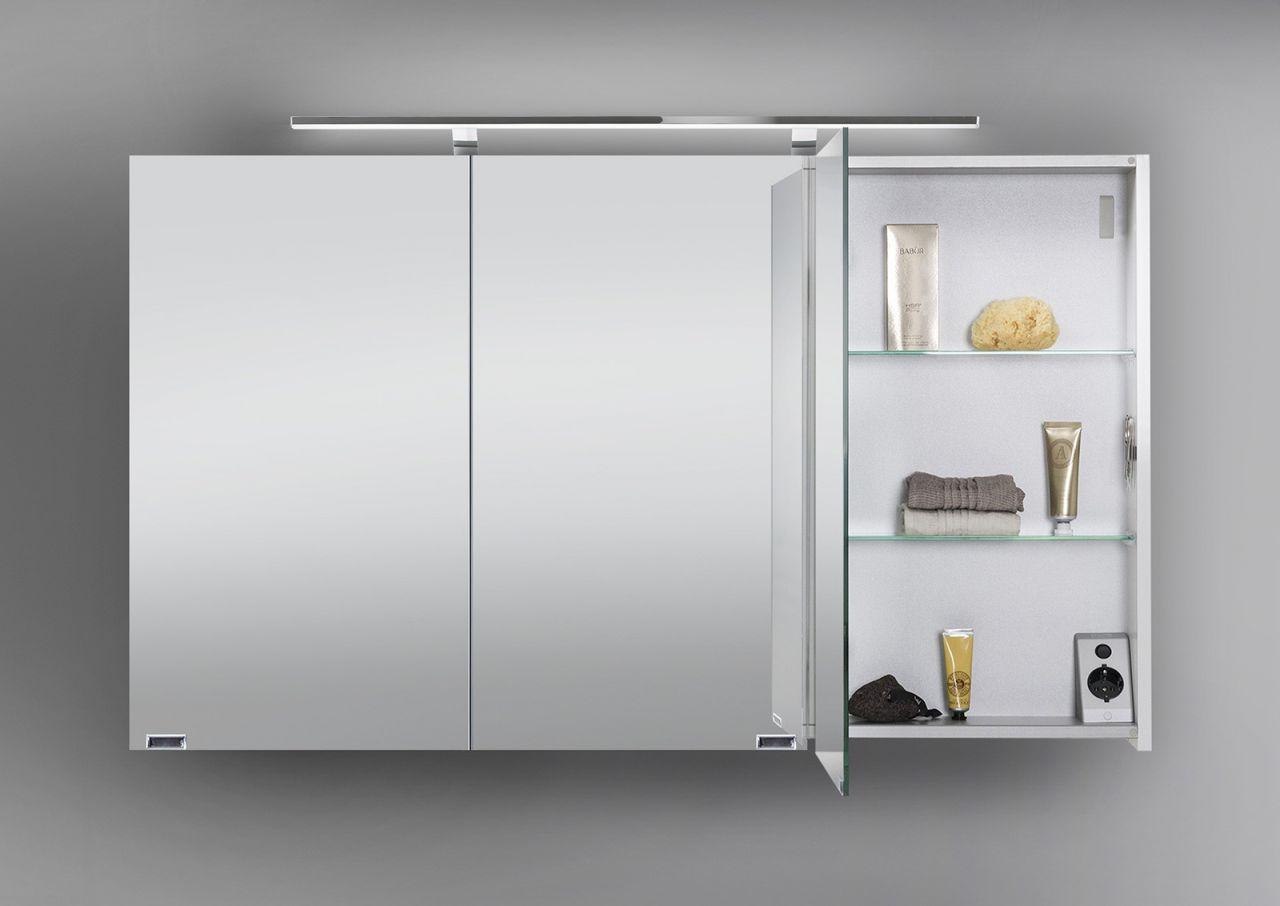 spiegelschrank 120 cm led beleuchtung doppelseitig verspiegelt wei hochglanz ebay. Black Bedroom Furniture Sets. Home Design Ideas