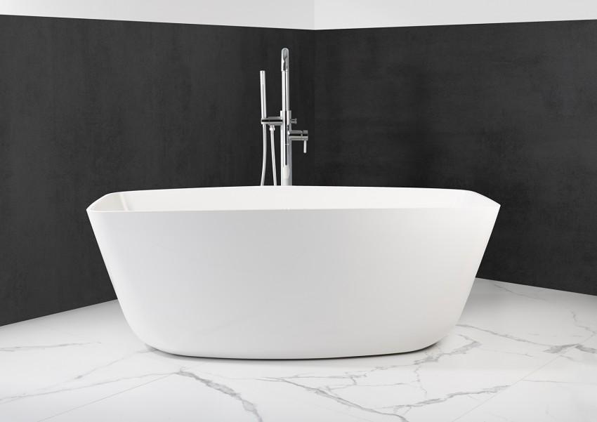Freistehende Badewanne aus Mineralguss 156,5x70x58 cm in Weiß Glanz oder Matt
