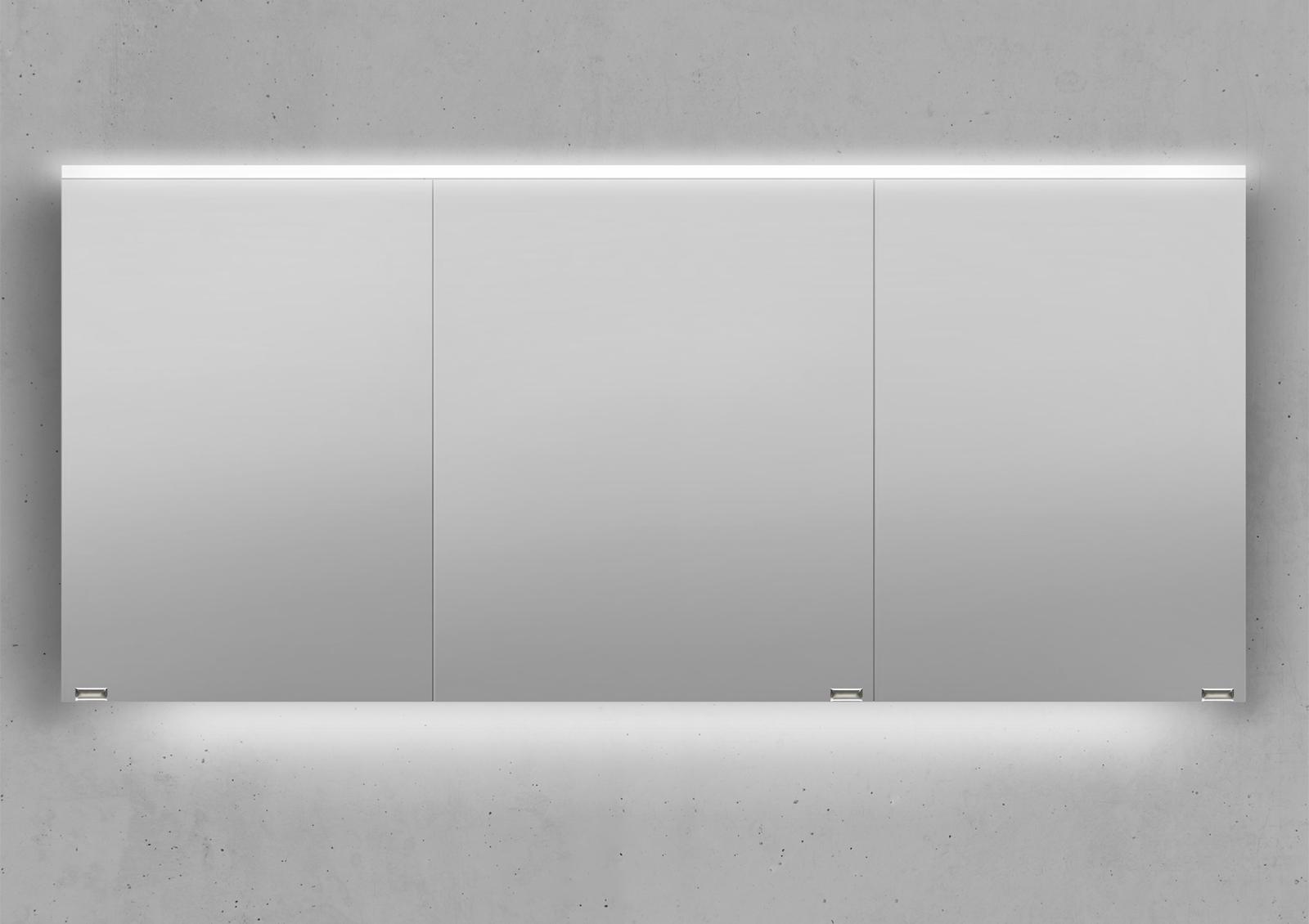 spiegelschrank 160 cm integrierte led beleuchtung doppelt verspiegelt. Black Bedroom Furniture Sets. Home Design Ideas