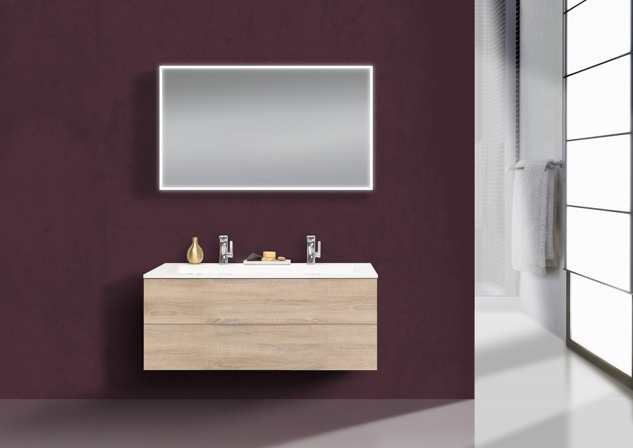 Intarbad CUBO Design Badmöbel Set grifflos, 120 cm Doppelwaschtisch ...
