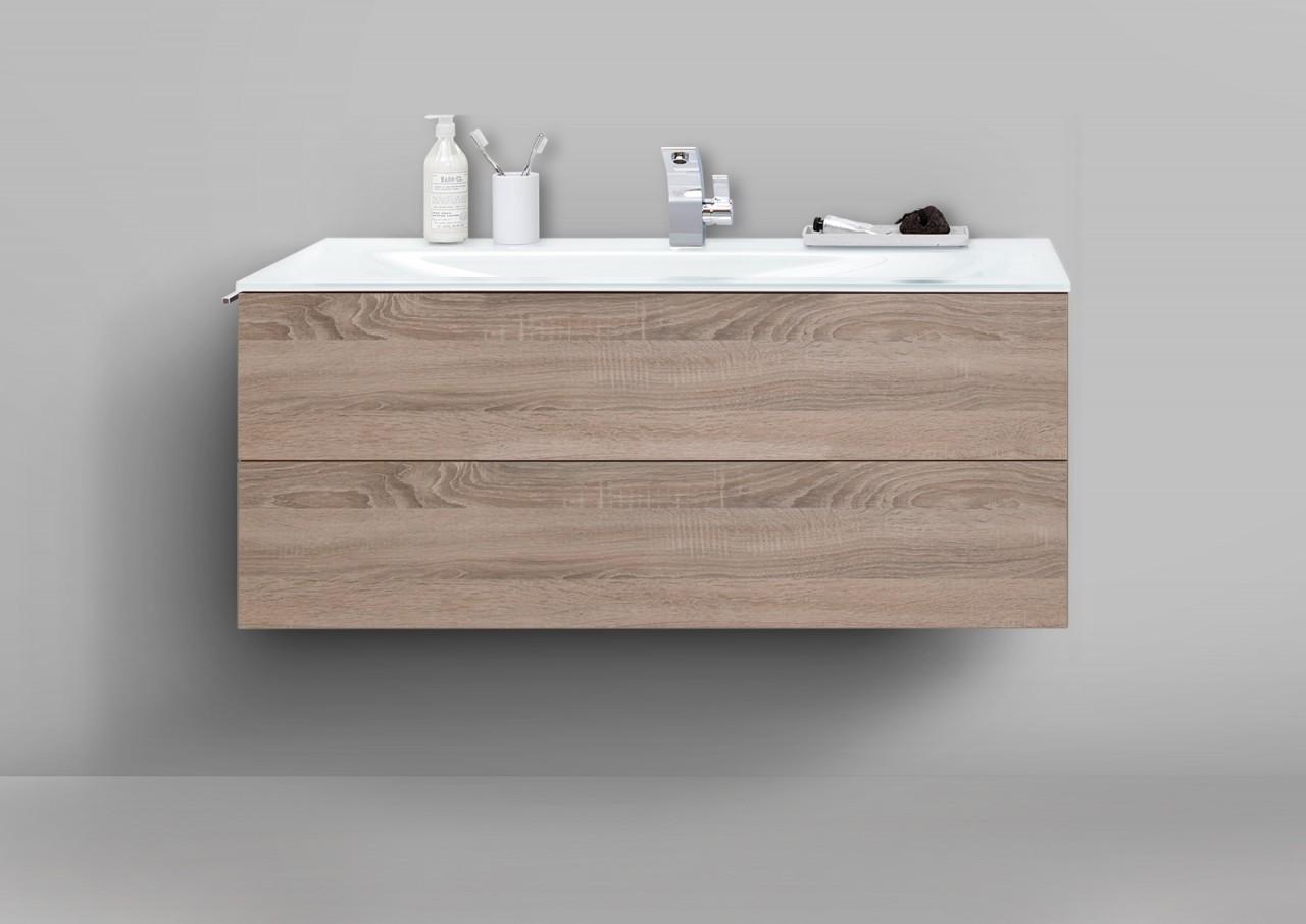 badm bel grifflos 120 cm glaswaschtisch optiwhite mit unterschrank waschtisch s ebay. Black Bedroom Furniture Sets. Home Design Ideas