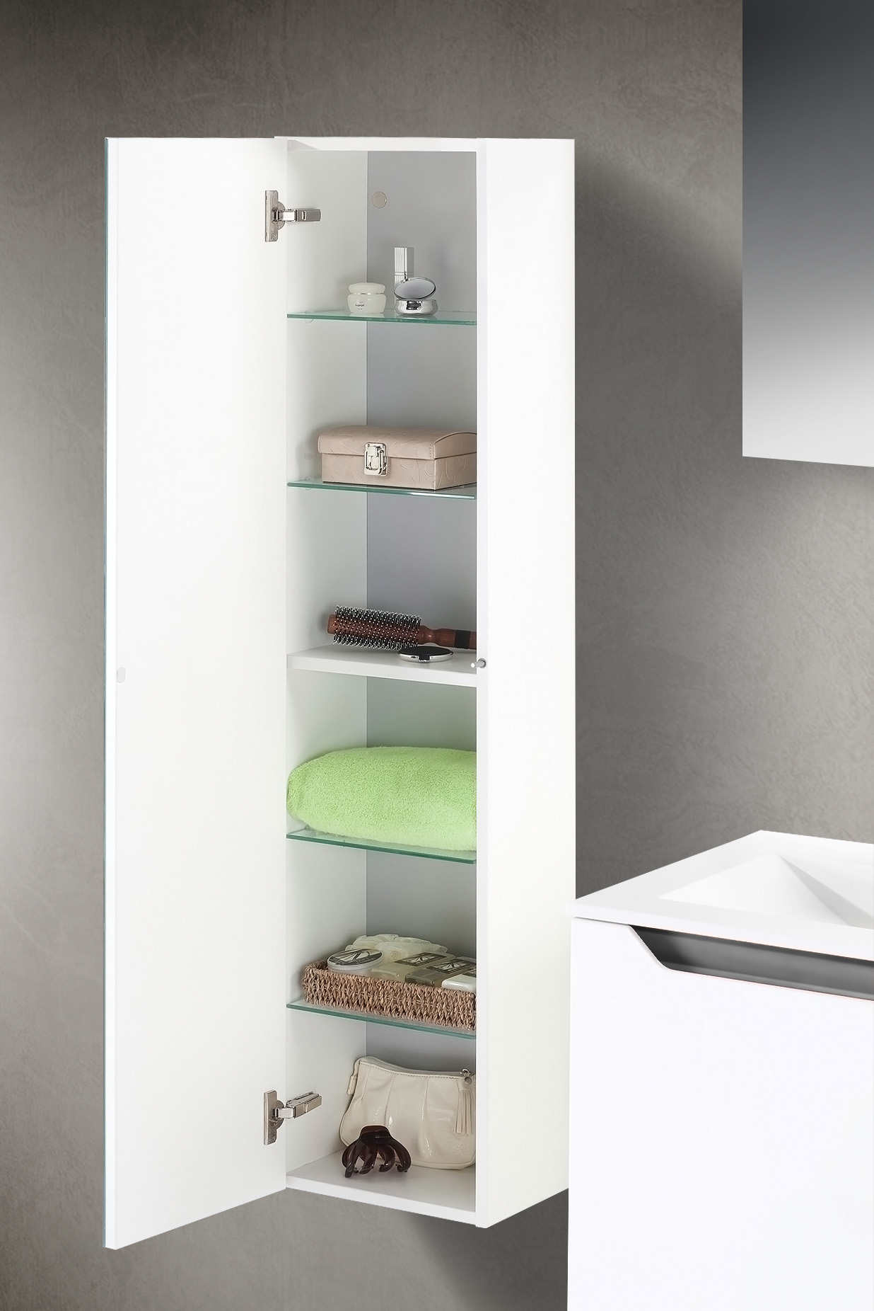 badm bel set mit waschtisch 120 cm grau hochglanz. Black Bedroom Furniture Sets. Home Design Ideas