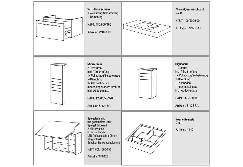 Design Badmöbel Set Spiegelschrank Waschbecken 90 cm