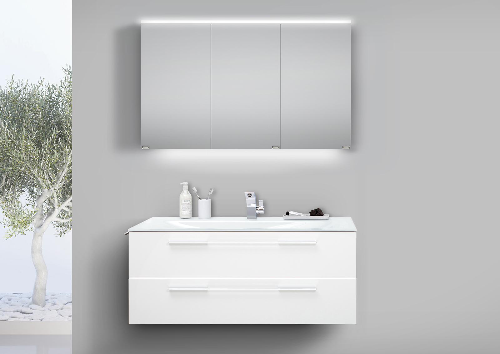badm bel set 120 cm glaswaschtisch mit unterschrank und led spiegelschrank. Black Bedroom Furniture Sets. Home Design Ideas
