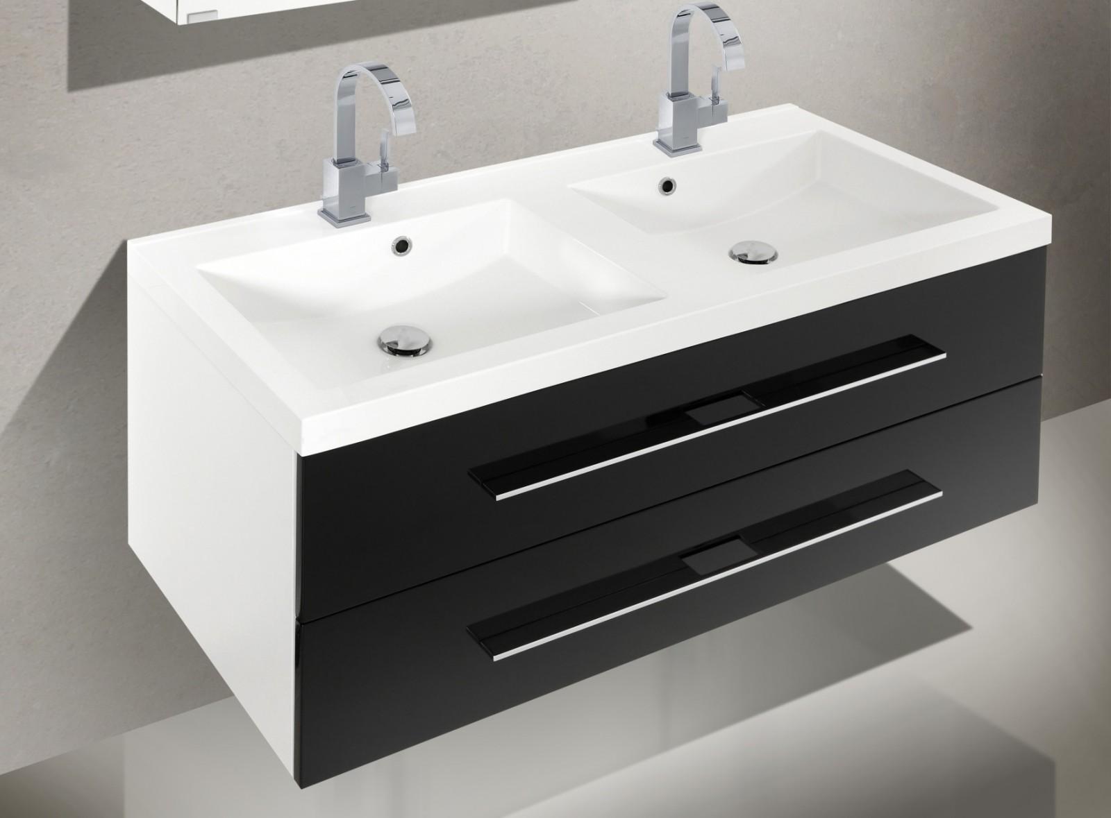 badm bel set mit doppelwaschtisch 120 cm und spiegelschrank. Black Bedroom Furniture Sets. Home Design Ideas